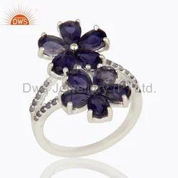 Flower Design 925 Silver Iolite Gemstone Ring