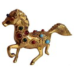 Brass Horse With Stone Work