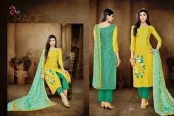 Round Neck Malhar Salwar Suit Fabric