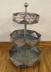 Galvanised 3 Tier Diamond Cut Storage Stand With Copper Strip