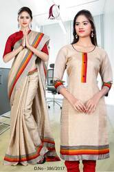 Beige with Red Orange Border Tripura Cotton Uniform Saree Kurti Combo