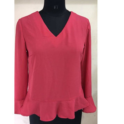Ladies Pink V Neck Top