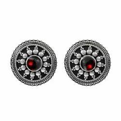 Beautiful 925 Sterling Silver Garnet Earrings