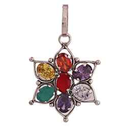 Synthetic Navratan/Navgrah Rhodium Silv Plated 7 Chakra Pendant for Women