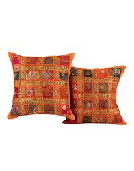 Patch Work Floral Embroidered Cotton Cushion Cover