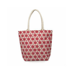 Juteberry Jute Bags Orange Small Floral Print