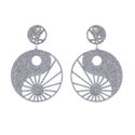 Diamond Round Dangle Earrings