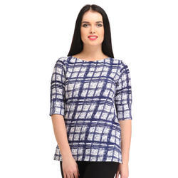 Cottinfab Casual Checkered Women's Blue, White Top