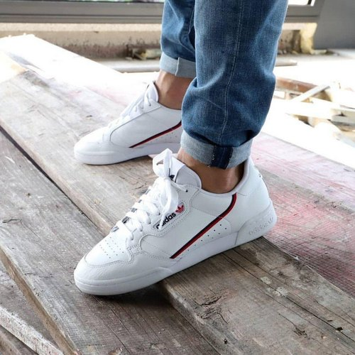 White Leather Adidas Continental 80