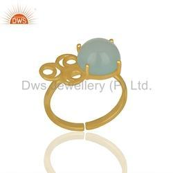 Designer 925 Silver Gold Plated Gemstone Ring