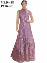 Netted Light Pink Fluffy Long Dress Gown