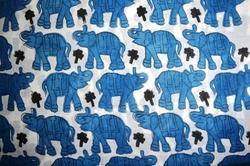 Hand Block Printed Cotton Floral Printed Fabric Indian Printed Elephant Printed