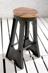 Industrial Soho Cast Iron Bar Stool With Wooden Top. Ask For Price