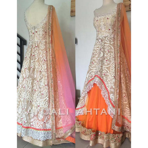 4c66a86a86 Ethnic Wear Gowns - Bollywood Designer Aces Orange Net Gown ...