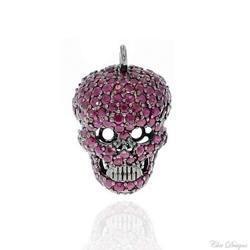 Ruby Skull Charm Pendant