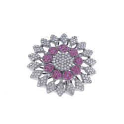 Pave Diamond Silver Flower Cocktail Ring