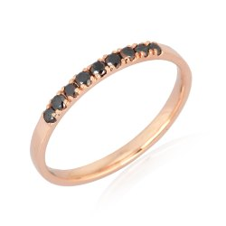 Pave Black Diamond 10K Gold Band Ring