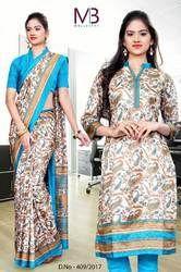 Cream with Sky Blue Border Mulberry Silk Uniform Saree Kurti Combo
