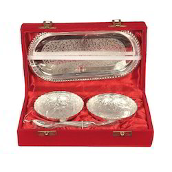 Silver Plated Plate With Spoon