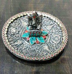 Metal Plate Ganesha With Stone Work