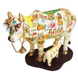 Wooden Painted Cow With Calf