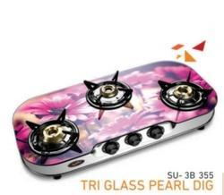 3 Burner Glass Top Gas Stove Pearl Series SU-3B-355D
