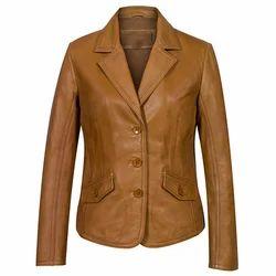 Brown Leather Ladies Jacket