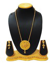 Traditional Pink Stone Long Pendant Set For Women Jewellery