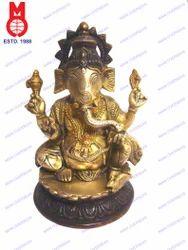 Rd. Lotus Base Ganesh Sitting Statue