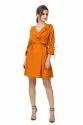 Women Designer Mustard Ruffle Short Dress