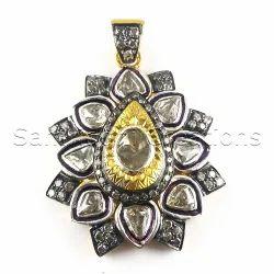 Rose Cut Diamond Silver Pendant