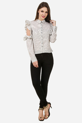 Women Ruffle Stripe Shirt
