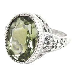 Tropical Glow 925 Silver Green Amethyst Ring