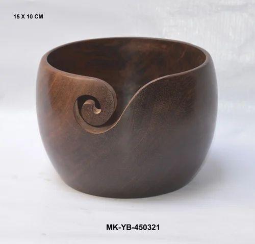 Wood Handicrafts Wooden Knitting Yarn Bowl Exporter From Moradabad