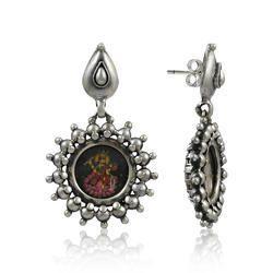 Saraswati Inlay Silver Jewelry Stud Earrings