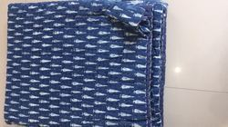 Indigo Blue Hand Block Print Kantha Quilt Queen Size Quilt