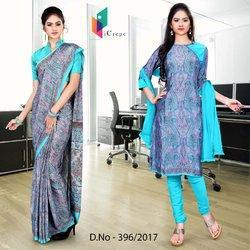 Sky Blue and Purple Italian Crepe Uniform Saree Salwar Combo