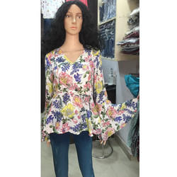 Ladies Floral Printed V Neck Top