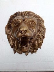 Metal Wall Mount Lion Head Antique Gold