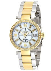 OMAX Analog White Mother of Pearl Dial Gold Silver Two Tone Wrist Watches