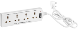 4 Way White Extension Board With Spike & Surge Protection