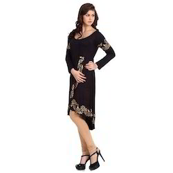 Ira Soleil Black Printed Viscose Knitted Stretchable Long