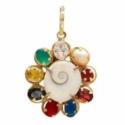 Multi Colour Synthetic Navratna Gomti Chakra Brass Pendant for Men