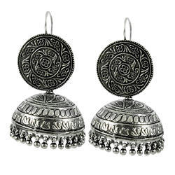 Oxidized 925 Sterling Silver Jhumka