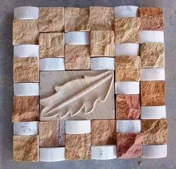 beige sandstone mosaic wall cladding tiles