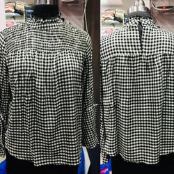 Ladies White Black Check Top