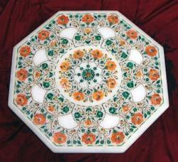 Octagonal Marble Inlay Coffee Table Tops