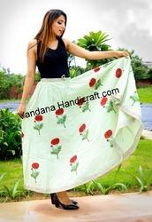 New Stylish Cotton Flower printed long skirt