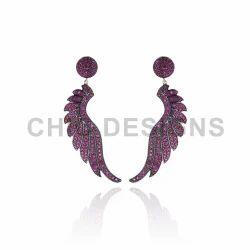 Ruby Silver Earrings Jewelry