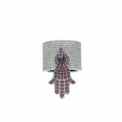 Ruby Gemstone Hamsa Charm Ring